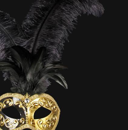 Colombina Piume Mezza Black Masquerade Mask