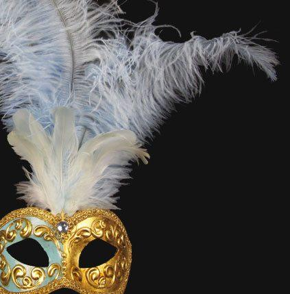 Colombina Piume Mezza SkyBlue Masquerade Mask