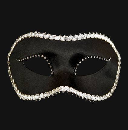 Colombina Satin Strass Black Masquerade Mask