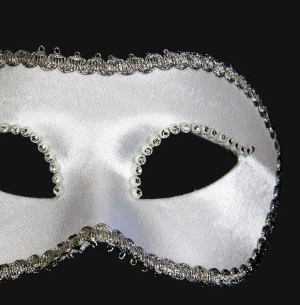 Colombina Satin Strass White Masquerade Mask