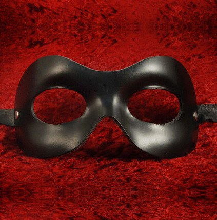 Fellini Leather Black H Masquerade Mask