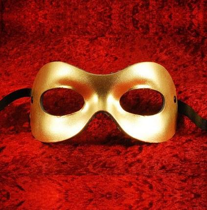 Fellini Leather Gold E Masquerade Mask