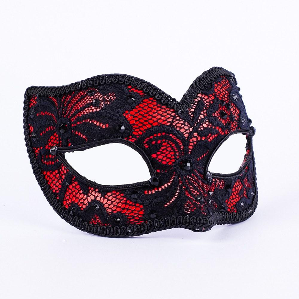 Lacy Cherry Masquerade Mask
