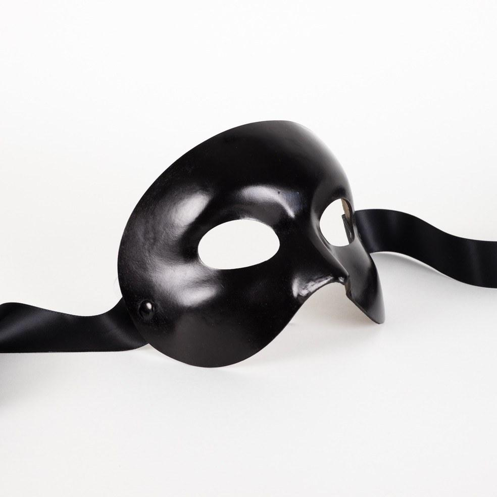 Opera Leather Black Masquerade Mask