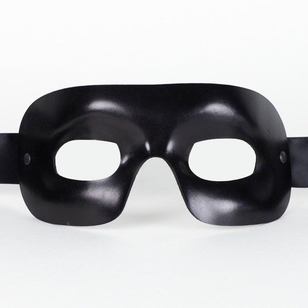Quadra Leather Black Masquerade Mask