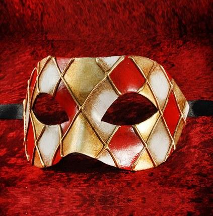Red/Gold Colombina Rombi Masquerade Mask
