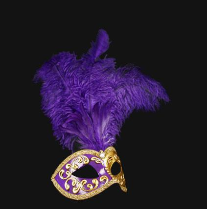 Colombina Piume Mezza Purple Masquerade Mask