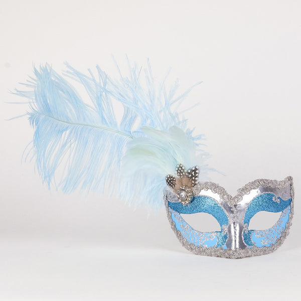 Colombina Can Can Silver Sky Blue Masquerade Mask