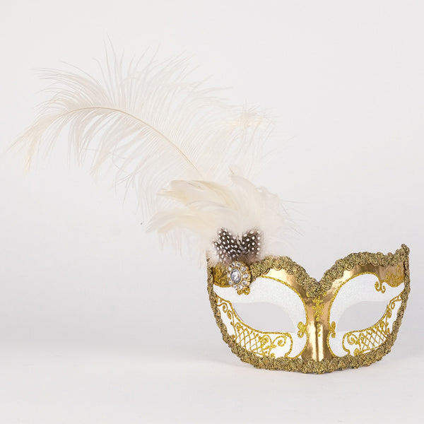 Colombina Can Can Gold White Masquerade Mask