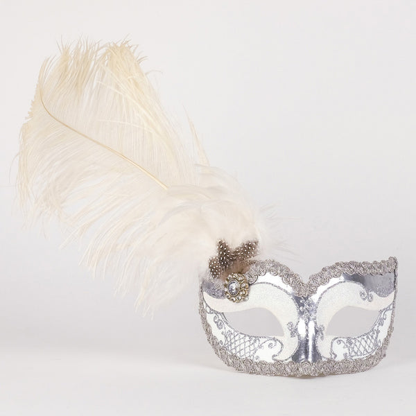 Colombina Can Can Silver White Masquerade Mask