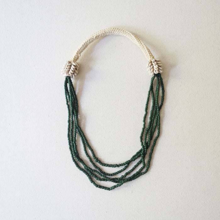 Beaded Necklace - Moss Green