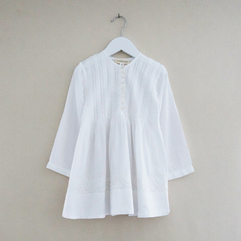Pleated Dress White