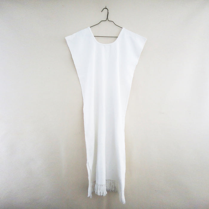 Vintage White Huipil With Fringe