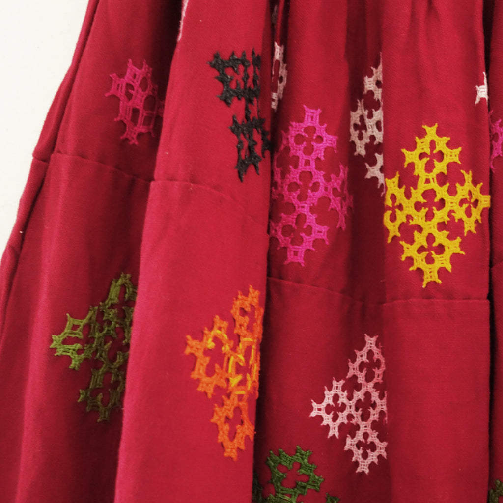Vintage Embroidered Banjara Tribal Red Skirt