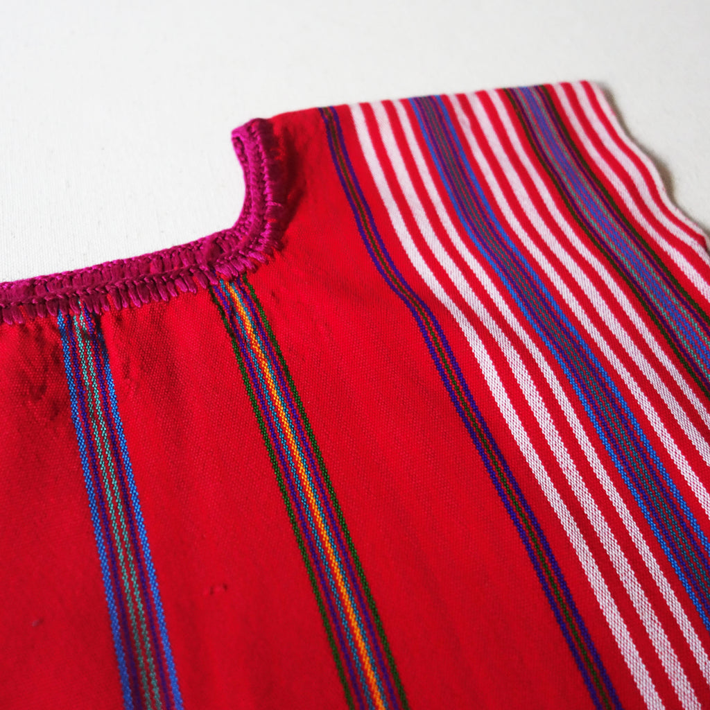 Red Huipil Blue Stripes (6Y)