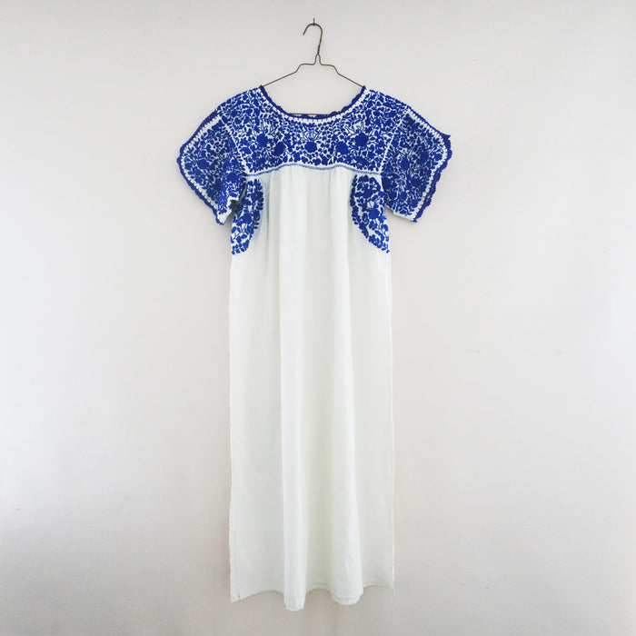 Oaxaca long dress white/blue