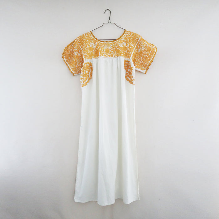 Oaxaca long dress white/mustard