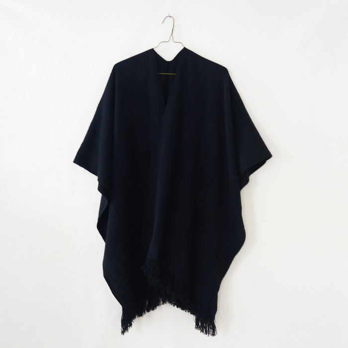 Wool Poncho Black