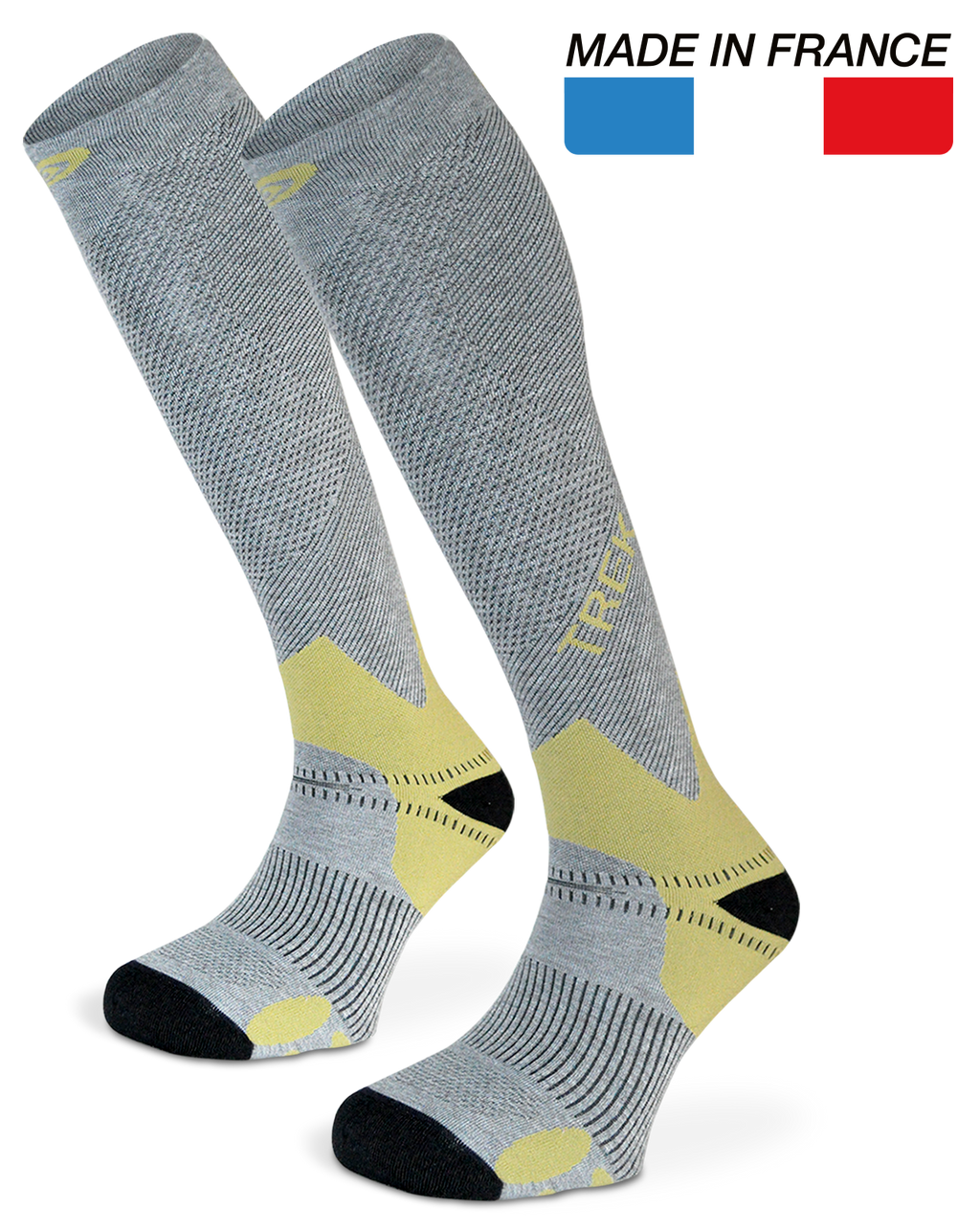 TREK GREY/GREEN 20-30 mmHg COMPRESSION SOCKS