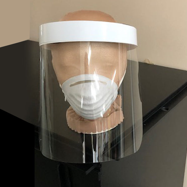 Protective visor. Lexan .010'' clear with velcro fastener, ideal for the medical sector