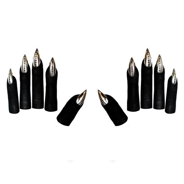 VEGAN LEATHER FINGER TIPS WITH SWAROVSKI STILETTO NAILS