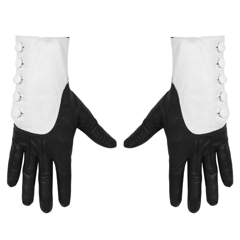 IN STOCK MAJESTY BLACK X GHOST CARDINAL COPIA BLACK AND WHITE BUTTON GLOVES