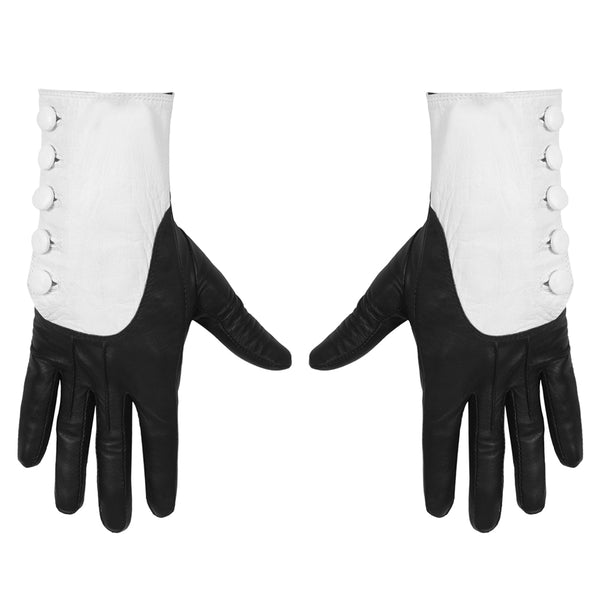 MAJESTY BLACK X GHOST CARDINAL COPIA BLACK AND WHITE BUTTON GLOVES