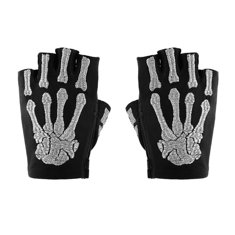 SOLID BONES EMBROIDERED FINGERLESS GLOVES
