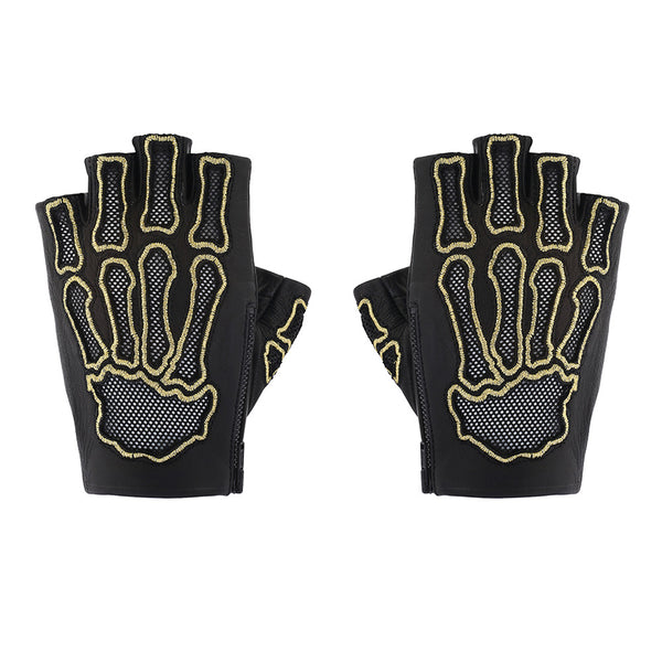HOLLOW BONES EMBROIDERED FINGERLESS GLOVES
