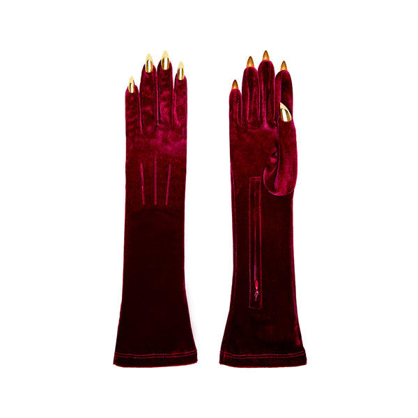 RUBY RED VELVET COCKTAIL GLOVES