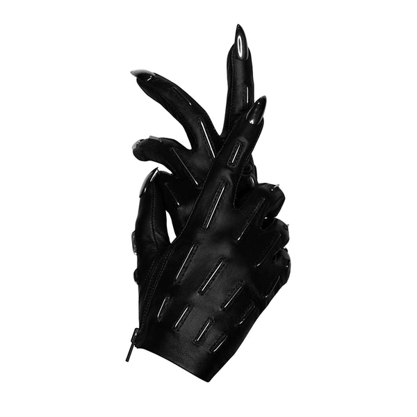 GUN METAL SKELETAL LINES STILETTO NAIL GLOVES