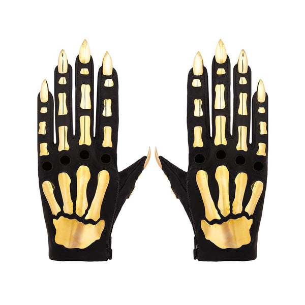 VEGAN FULL METAL BONES GLOVES WITH STILETTO NAILS