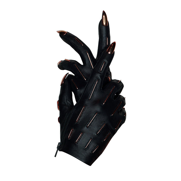 ROSE GOLD SKELETAL LINES STILETTO NAIL GLOVES