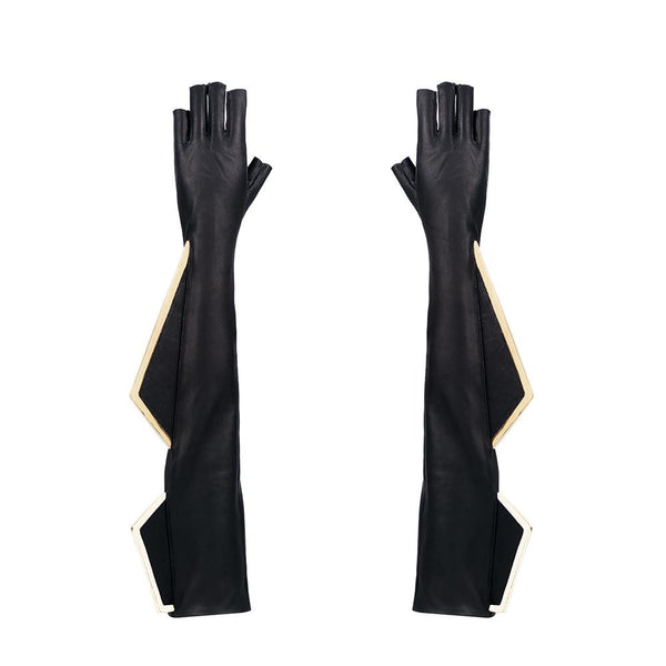 VEGAN LEATHER METAL FIN FINGERLESS OPERA GLOVES