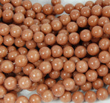 10mm Camel Brown Jade Beads Opaque Smooth - 16 inch strand