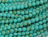 6mm Golden Matrix Turquoise Blue Resin Round Beads -15.5 inch strand, acrylic and resin, Bead Girlz Boutique - 1