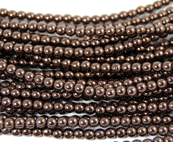 Chocolate Bronze 4mm round czech beads   - 100, czech druk, Bead Girlz Boutique - 1