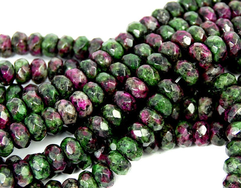 8x5mm Ruby in Zoisite Rondelle Beads, Opaque Green and Purple round -15 inch strand, ruby in zoisite, Bead Girlz Boutique - 1