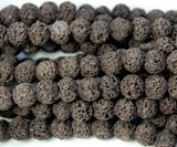 8mm Coffee Brown Lava Rock Round Stone Beads -15 inch strand