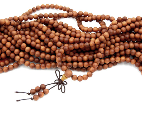 108 Male Beads, Sandalwood, Natural Aromatic 6mm Sandalwood Beads, Boho Yoga Prayer Beads