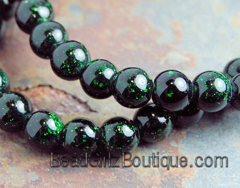 Green Goldstone Beads 10mm round -15 inch strand, green goldstone, Bead Girlz Boutique - 1