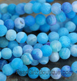 8mm Frosted Agate Round Beads in Blue  -15 inch strand