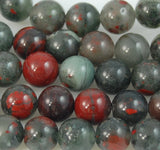 6mm African Bloodstone Jasper Round Beads in Deep Red and Forrest Green -15.5 inch strand, african bloodstone, Bead Girlz Boutique - 2