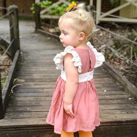 Girls Pinafore Dress, Rust colour with Frills available in sizes 0-8. Handmade in Australia. Afterpay available.