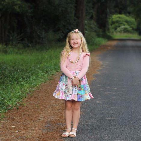 Mini Patchwork Ruffle Skirt - Mini Mooches is an Australian owned business specialising in handmade clothing and accessories for girls aged between 1-10. Beautifully designed Floral Dresses, Peplum Tops, Suspender skirts and shorts. Special occasions to everyday wear.