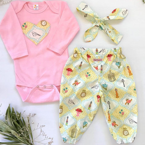 Yellow Birds & Clocks Harem Pants Set