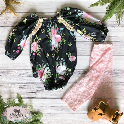 Winter Bloom - Black Seaside Romper