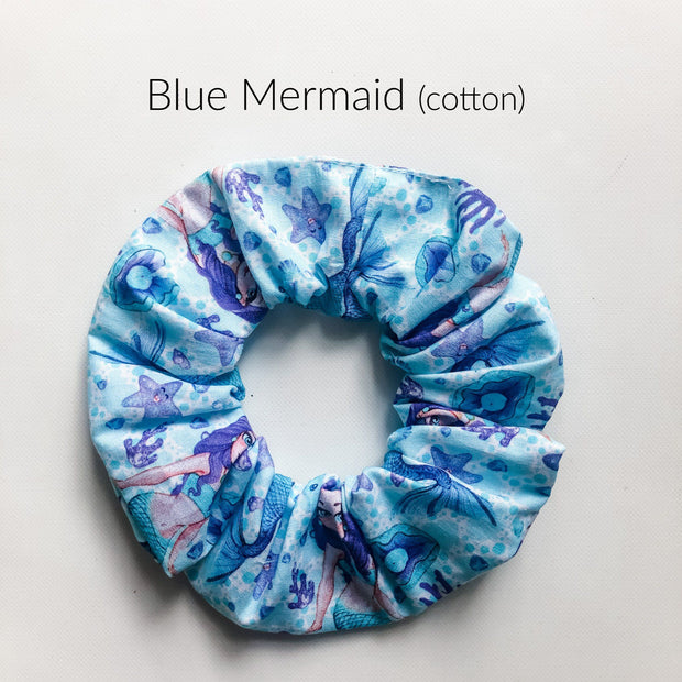 Scrunchies - Blue Mermaid - Mini Mooches is an Australian owned business specialising in handmade clothing and accessories for girls aged between 1-10. Beautifully designed Floral Dresses, Peplum Tops, Suspender skirts and shorts. Special occasions to everyday wear.