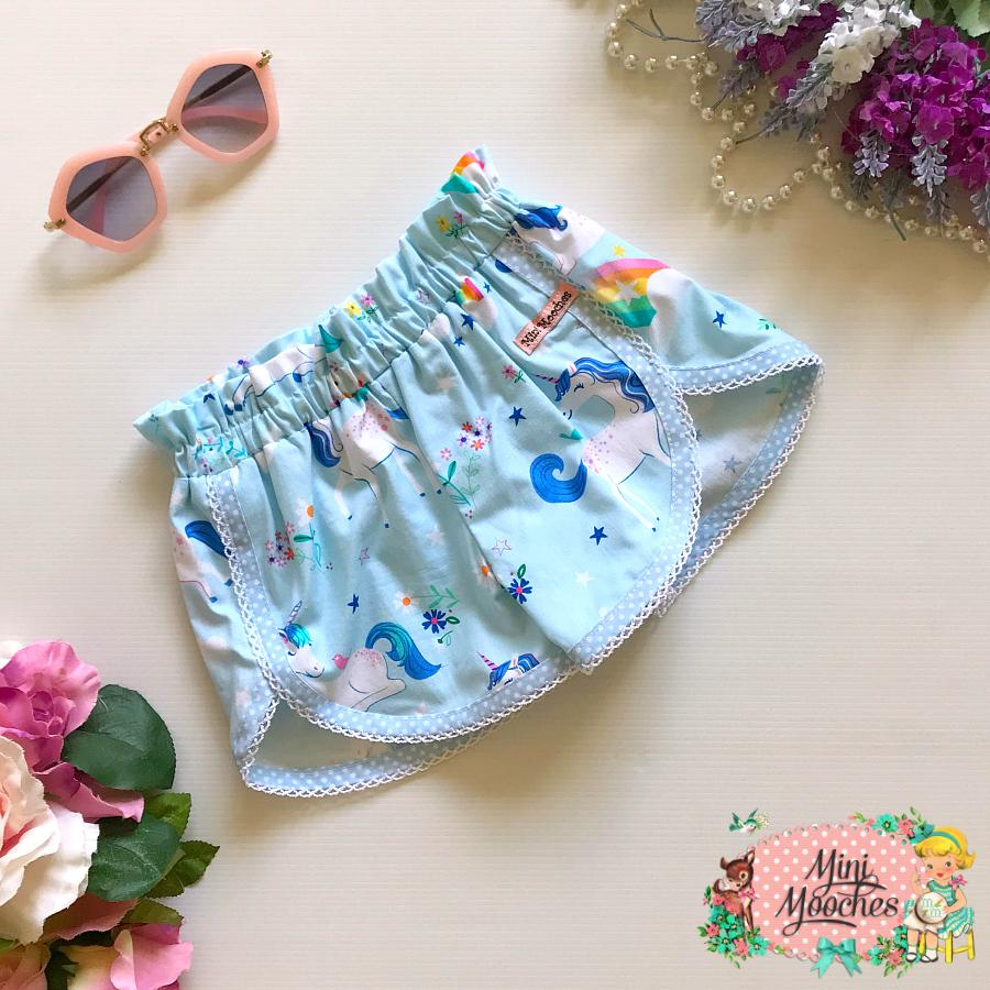 Blue Unicorn Tulip Shorts
