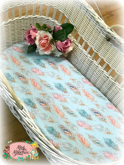 Boho Babe Blue Feathers Nursery Cotton Sheet